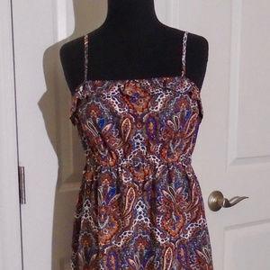 J CREW Printed Ruffle Trim Sleeveless Dress XS NWT